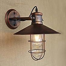 baycheer hl421422Industrial Retro Vintage estilo único luz náuticas candelabro de pared lámpara de pared lámpara de cobre de metal antiguo con jaula uso bombilla E26/27