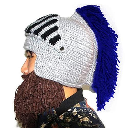 (Perücke Bart Hüte Cosplay Roman Knight Strickhelm Winter Sport Wärmer Cap Ski Lustige Maske Beanie (Dblau))