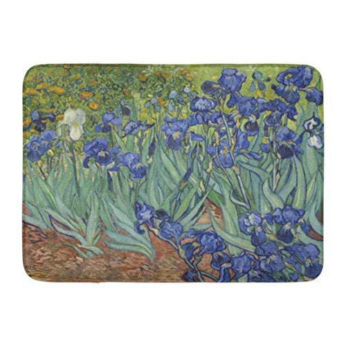 Fußmatten Bad Teppiche Outdoor / Indoor Fußmatte Iris von Vincent Van Gogh 1889 niederländische Post Impressionist Malerei Öl auf Leinwand Dies im Garten Badezimmer Dekor Teppich 15,7