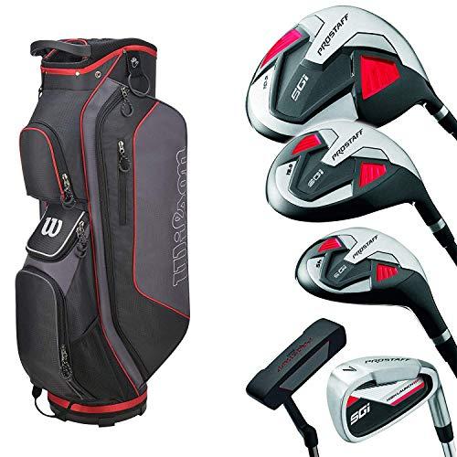 Wilson Pro Staff SGI Komplettset/Golfset für Herren, Rechtshand, Graphitschäfte, Cartbag in Grau/Schwarz/Rot   Inkl. 3 Wilson Staff TD Long Golfbälle