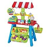 deAO Puesto de mercado de juguete para niños con carrito de la compra y comida para jugar
