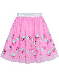 Sunny Fashion Chicas Falda Rosa Fresa Lentejuelas Espumoso Tutu Bailando 7-8 años