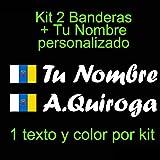 VINILIN - Pegatina Vinilo Bandera Canarias + tu nombre - Bici, Casco, Pala De Padel, Monopatin, Coche, etc. Kit de dos Vinilos (Blanco)