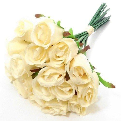 Ramo de 30cm de 18 rosas artificiales, crema, 1 Bunch