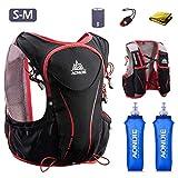 Mochila de paquete de hidratación Triwonder Chaleco de hidratación de carrera ligera para correr maratón de lujo 5L (negro (S-M) - con 2 botellas de agua blanda)
