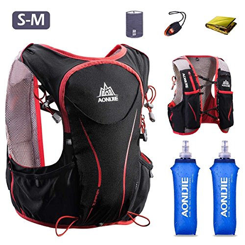 Triwonder Hydration Pack Backpack Hydrogen Vest 5L Lightweight Deluxe Marathoner Race Race (Nero (S-M) - con 2 bottiglie d'acqua morbide)