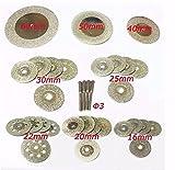 32 Stück Diamant-Trennscheiben, Mini-Kreissägeblatt, 16/20/22/25/30/40/50/60 mm, Dremel-Dreh-Werkzeuge für Edelstein, Glasstein, mit 4 Dornen