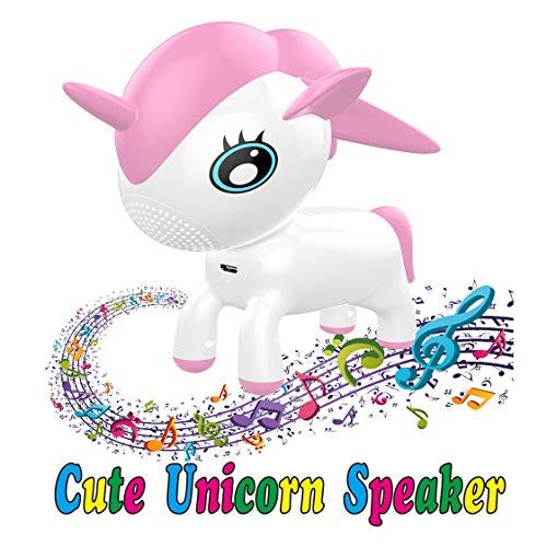 VZOM Einhorn LED Bluetooth Lautsprecher Wireless (USB), RGB Farbwechsel Licht Pet Musical Player Lautsprecher, Neuheit Tierspielzeug Geschenk für Kind Baby Mädchen Jungen Kinder, Heim und Büro Dekor