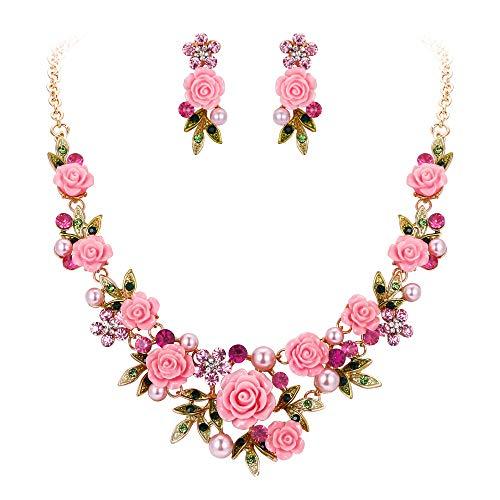 EVER FAITH® Gold-Ton Kristall künstliche Perle Frühling Rose Blume Blatt Halskette Ohrringe Set pink
