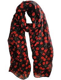 Black & Red Cherries Scarf Ladies Fashion Spot Scarves