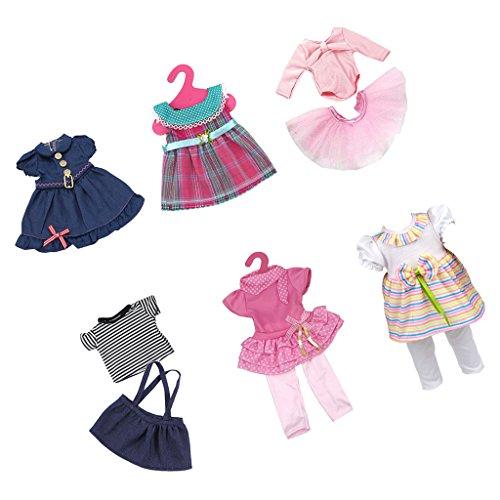 Sharplace 6 Sets Schöne Puppen Kleider Rock T-Shirt kleidung Für 18 Zoll American Girl Puppe Dress Up Zubehör (T-shirt Baby-puppe Prinzessin)