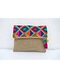 Bolsa para ropa Boho, diseño Kilim marroquí, Foldover Clutch, bordado, ...