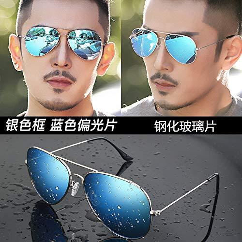 CFLFDC Sonnenbrillen Temperierte Glasbrille Sonnenbrille Männliche Fahrer Polarisierende Brille Polarisierende Fahrt Silberner Rahmen Eis-blaue Scheiben (Glaslinsen)