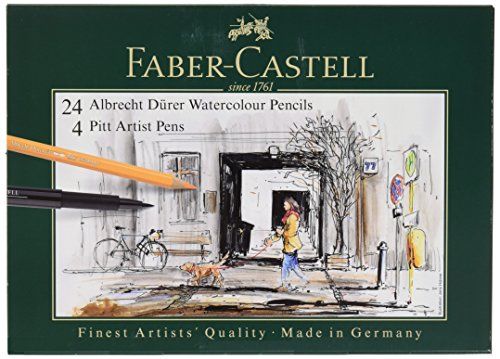 Faber-Castell 217504 – Pack de 24 lápices de colores acuarelables y 4 rotuladores, multicolor