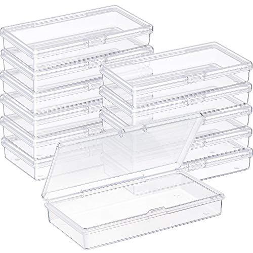 Paquete de 12 pequeños contenedores de plástico transparente pequeño caja con tapa con bisagras caja de almacenamiento de cuentas para manualidades, cuentas pequeñas, joyas, hallazgos, pastillas, partes de relojes y otros artículos pequeños   12 con...