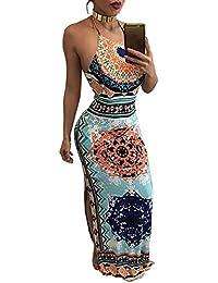 Ninimour Womens Ethnic Side Split Halter Drawstring Maxi Dress