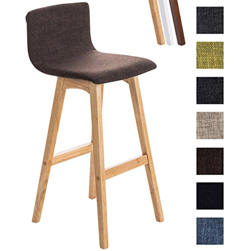 Clp sgabello bar taunus in tessuto - sedia alta cucina telaio in legno i sedia alta bar con schienale i sgabello alto bancone, h72 cm marrone base natura