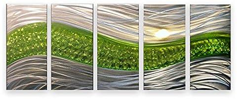 Metal Wall Art Modern Abstract Sculpture Huge 5 Panels Handmade Decor Green Path