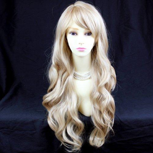 Perruque Belle et Sexy Dégradé Blond Longue et Ondulée Contact Peau