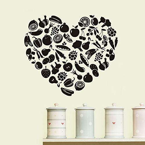 Küchenaccessoires Wandtattoos herzförmige Obst und Gemüse Kinderzimmer Wohnzimmer Dekoration Vinyl Wandtattoos abnehmbar