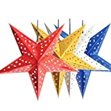 SwirlColor 4 pieces 30CM Paper Star Lampshade Star Lantern For Bar Christmas Party Decor (Light Not Included)