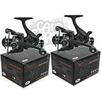 2x Carp Fishing Baitrunner Reel with Twin Handle And 10 Ball Bearing + Spare Spool