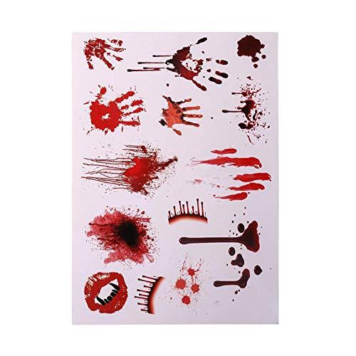 3 x wasserdichte blutige Narben Tattoo Halloween Horror Terror Wunde Gruselblutverletzung Aufkleber rot