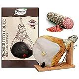 Prosciutto Crudo intero con osso, in confezione regalo con morsa e coltello + Salame Milano , c.a. 1 kg sottovuoto