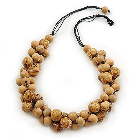 Marron Clair Cluster perle en bois–Collier cordon coton noir–70cm L