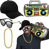 meekoo Hip Hop Kostüm Kit Hut Sonnenbrille Gold Kette 80s/ 90s Rapper Zubehör (Baseball Mütze, Boom Box)