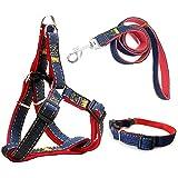Eightnight Regolabile Duro Denim Dog Harness Guinzaglio Cinghia Collare Set cinturino per addestramento Camminare Corsa (Medio)