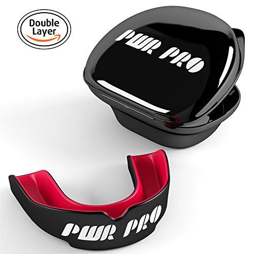 Premium-Gum Shield Mundschutz–– im Karton mit Hut–MMA Gum Guard–Die Zähne, für Rugby, Muay Thai Hockey Judo Karate Kampfsport für Männer Frauen–Kinder–mit Biss Schutz, schwarz / rot, Für Erwachsene