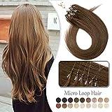 Rajout Cheveux Naturel Extension a Froid Micro Loop 100% Vrai Cheveux Humain Naturel Remy 100 Mèches 50g (#6 CHATAIN CLAIR, 20 Pouce/50CM)