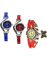 Freny Exim Combo Of 3 Soft Leather Red Dori Bracelet With Sophisticated Blue And Red Round Dial Soft Strap Analog...