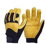 TX ZHAORUI Outdoor Reithandschuhe Leder Gartenhandschuhe Fahrer praktische Arbeit Handschuhe mechanische Geschicklichkeit und atmungsaktives Design,Yellow
