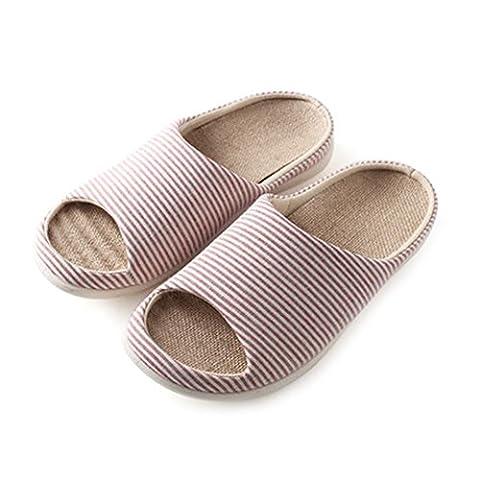 à enfiler Chaussons Antidérapant Bout ouvert Sandale Coton et lin Mules Absorbe la transpiration Lin Chaussures pour adulte, red