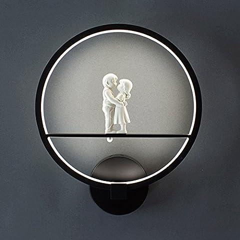 European Style Nachttisch Led Led Wandleuchte Creative Gang Treppenhaus Beleuchtung Wohnzimmer Schlafzimmer Licht LED 18W Warm White Light Romantische Kuss Liebhaber ( Farbe : Schwarz-26*31cm (Romantische Kuss)