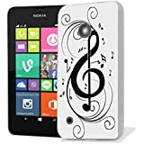 coque housse etui case cover pour nokia lumia 530 - black musical note