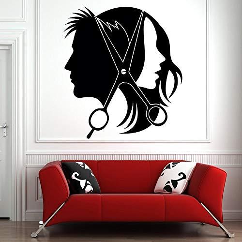 ziweipp Friseursalon Wand Fenster Aufkleber Aufkleber Friseur Haar Werkzeuge Vinyl Wandaufkleber Moderne Dekoration Selbstklebende Folie 42 * 46 cm - Wiederverwendbare Fenster-folie