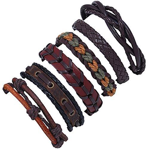 POTOU Herren Armbänder Retro Stil Mehrschichtiges Leder Seil