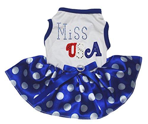 Petitebelle 4th July Dog Dress Miss USA White Cotton Polka Dots Blue Tutu (Kostüme Miss Usa)
