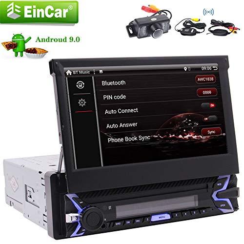 EINCAR 7-Zoll-Flip Out Touch Screen Auto-Stereo Single 1 Din mit GPS-Navigation kostenlos WiFi Lenkradsteuerung AUX Android 9.0 Pie System Auto SD/USB-Spiegel-Verbindung mit Wireless-Backup-Kam