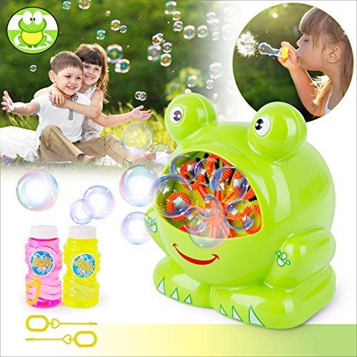 (BAYTTER Seifenblasenmaschine mit zwei Flaschen von Flüssigkei Kinder Frosch Spielzeug Indoor und Outdoor.Bubble Machine Automatische dauerhafte 500 Bubbles pro Minute für Partys, Hochzeit, Garten)