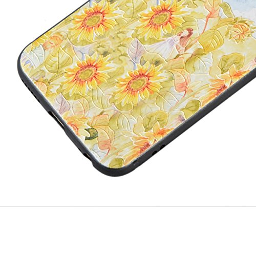 iPhone SE Hülle, Sunroyal TPU 3D Handyhülle Muster Case Cover Für iPhone SE 5 5S (Rosa Lotus) Silikon Backcover Case Handy Schutzhülle - Cover Cartoon Garten Aquarell Design Mehrfarbig 3D Erleichterun Pattern 8