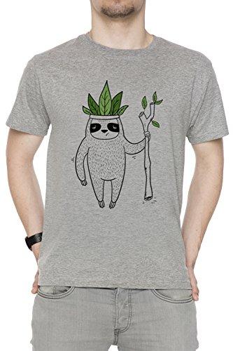 Erido König von Faultier Herren T-Shirt Rundhals Grau Kurzarm Größe XL Men's Grey X-Large Size ()