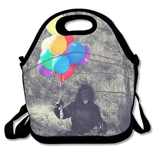 Dozili Gorilla Halloween-Lunch-Taschen, bunte Luftballons, große und dicke Neopren, isoliert, für Mittagessen, Kühler, warm, mit Schultergurt, für Damen, Teenager, Mädchen, Kinder, Erwachsene