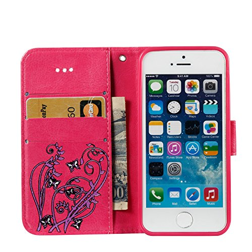 JIALUN-Telefon Fall Druck Farbe Schmetterling Blumen mit Lanyard Card Slot, Eingebaute Halterung Flat Phone Cover für IPhone 5 & 5s & SE ( Color : Rose ) Rose