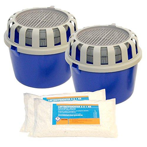 2 Luftentfeuchter Granulat Boxen + 2 kg loses Granulat