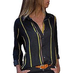 MORCHAN ❤ Chemisier Champion Femme Manches Longues Tunique Button Up Shirt Rayé Chemise Col V Top Chimie Blouse Mode Multicolore Chic Chemisier Classique Top(FR-42/CN-L,Noir-2)