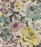 rasch Tapete 455649 aus der Kollektion Florentine II – Vliestapete mit bunten Aquarell-Pfingstrosen – 10,05m x 53cm (L x B)